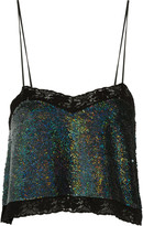 Ashish Lace-trimmed sequined silk-georgette top