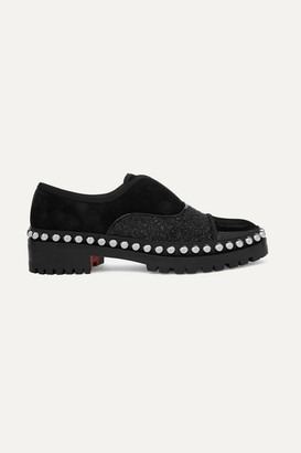 Christian Louboutin Alphacroc 35 Studded Glittered And Patent Leather And Suede Brogues - Black