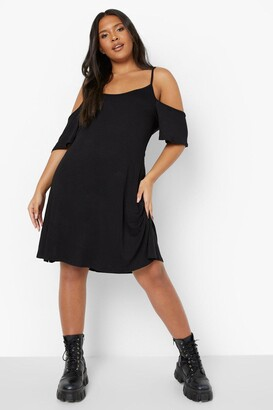 boohoo Plus Cold Shoulder Strappy Sundress