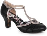 Bettie Page Black & Metallic Leatherette Keyhole Eris T-Strap Heels Shoes