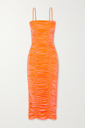 Christopher John Rogers - Wiggle Ruched Stretch-velvet Midi Dress - Coral