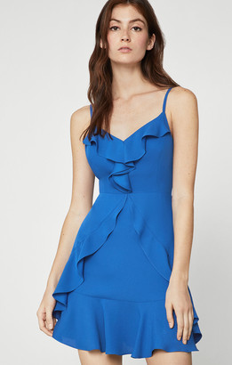 BCBGMAXAZRIA Ruffled Satin Mini Dress