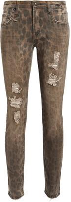 R 13 Kate Distressed Leopard Skinny Jeans