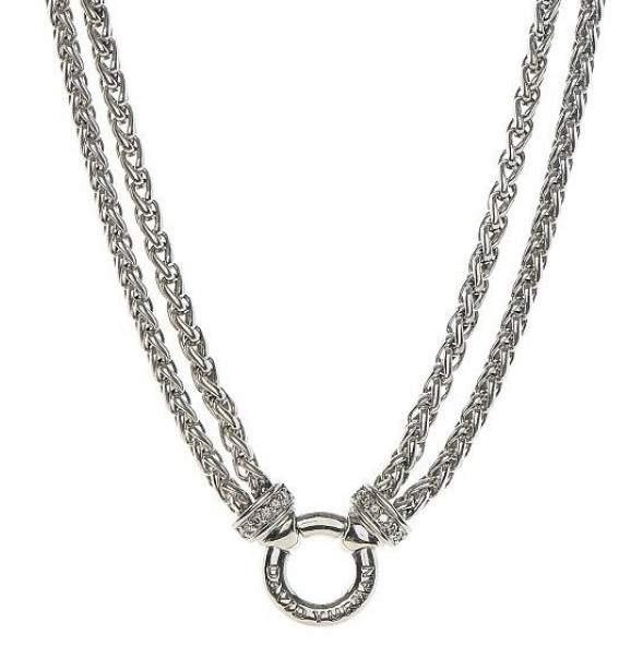 David Yurman 925 Sterling Silver 0.24ct. Diamond Wheat Chain Center Loop Necklace