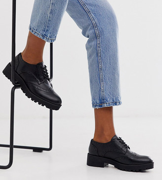 London Rebel wide fit chunky lace up brogues in black