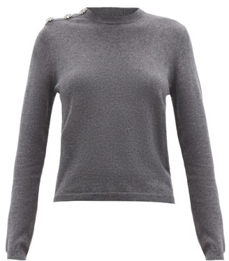 Ganni Crystal-button Recycled Cashmere-blend Sweater - Grey