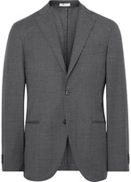 Boglioli - Grey K-jacket Slim-fit Checked Virgin Wool Suit Jacket