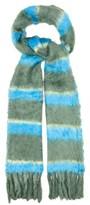 Marc Jacobs Striped Tasselled Silk Scarf - Womens - Blue