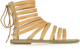Ancient Greek Sandals Galatia Natural Leather Flat Sandal