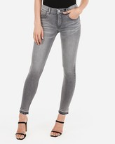 Express Mid Rise Denim Perfect Lift Raw Hem Grey Ankle Leggings