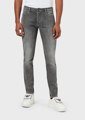 Emporio Armani J11 Extra Slim-Fit Denim Jeans With Destroyed Details