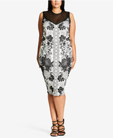 City Chic Trendy Plus Size Illusion Bodycon Dress