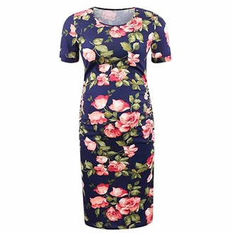 So Buts Maternity Dress SO-buts Pregnant Women Floral Print Bodycon Short Sleeve Casual Evening Maternity Dresses Mom Gift Beach Holiday Dress (Navy L)