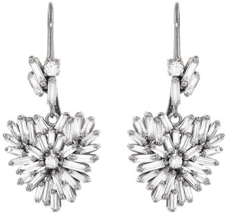 Suzanne Kalan White Diamond Baguette and Round White Gold Heart Drop Earrings