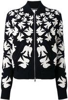 Alexander McQueen flocked swallow bomber jacket - women - Polyamide/Polyester/Spandex/Elastane/Viscose - S