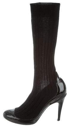 Chanel Round-Toe Sock Mid-Calf Boots