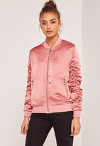 Missguided Ruched Sleeve Laced Bomber Jacket Pink
