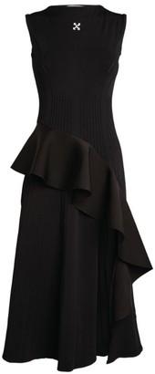 Off-White Asymmetric Ruffle Dress
