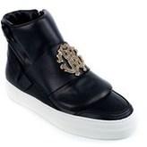 Roberto Cavalli Women's Black Logo Zipped Hi-top Sneakers.