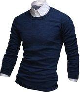 Wizikorea Men's Round Neck Sweater Long Sleeve T-Shirt NMD517N BLU L (US Small)