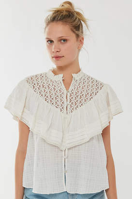 Urban Outfitters Bluebell Ruffle Button-Down Blouse