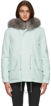 Mr & Mrs Italy Blue Fur Mini Parka