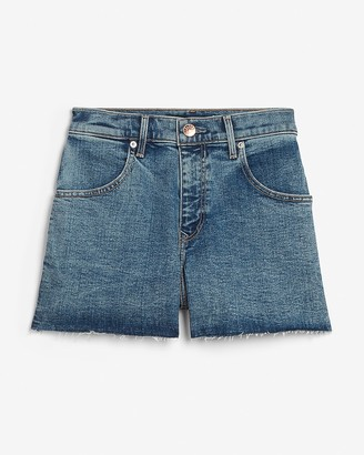 Express Super High Waisted Raw Hem Mom Jean Shorts
