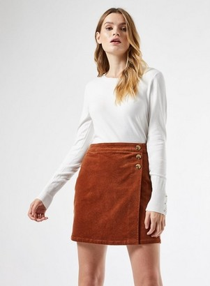 Dorothy Perkins Womens Tan Cord Wrap Mini Skirt