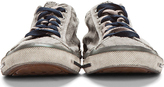 Diesel Gunmetal Grey Leather-Trimmed Exposure Sneakers