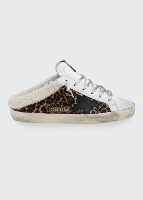 Golden Goose Leopard-Print Fur Slide Sneakers
