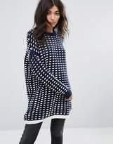 Noisy May Waffle Longline Knit Sweater