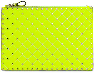 Valentino Large Rockstud Spike Flat Pouch in Lime | FWRD