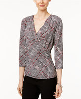 Charter Club Petite Plaid Faux-Wrap Top, Only at Macy's