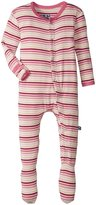 Kickee Pants Print Footie (Baby) - Girl Forest Stripe - New Born