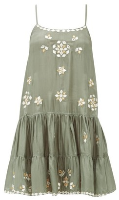 Juliet Dunn Mirror-embellished Silk Mini Dress - Womens - Khaki