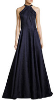 La Femme Sleeveless Satin Jacquard Ball Gown, Navy