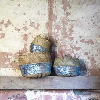 Stuff & Co - Small Silver Seagrass Sequin Basket - Natural/Silver