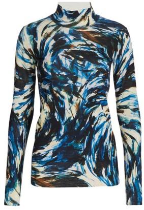Proenza Schouler Feather Print High-Neck Pullover
