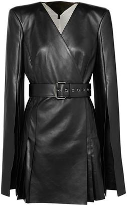 Gareth Pugh Belted Leather Wrap-effect Mini Dress