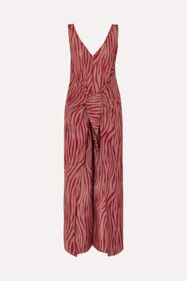 Diane von Furstenberg Acella Tie-front Tiger-print Cotton And Silk-blend Voile Jumpsuit - Claret