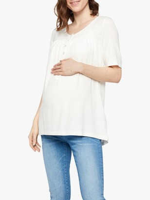 Mama Licious Mamalicious Fia Lia 3/4 Sleeve Jersey Maternity Top, Snow White