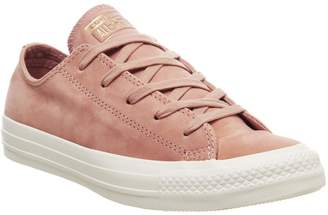 Converse Allstar Low Leather Trainers Rose Gold Egret Minimal Exclusive