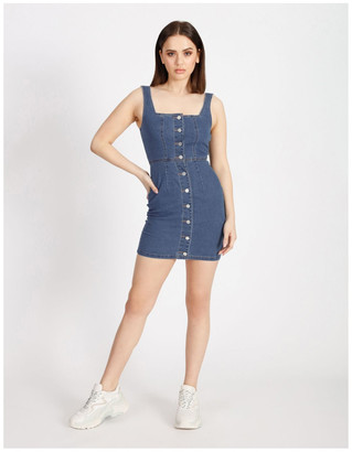 Missguided Square Neck Button Through Denim Dress
