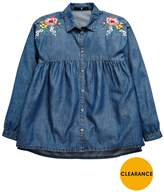 Very Floral Embroidered Denim Shirt