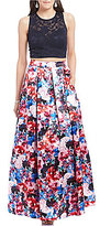 Teeze Me Two-Piece Lace Top Floral Skirt Long Dress