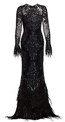 ZUHAIR MURAD Women's Moya Sheer Embellished Feather Gown