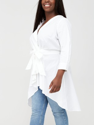V By Very Curve Dipped Hem Cotton Shirt - White