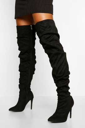 boohoo Slouched Stiletto Heel Thigh High Boots