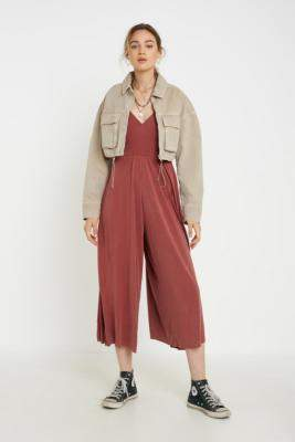 Urban Outfitters Molly Cupro Culotte Jumpsuit - black XS at