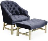 Bunny Williams Home Tufted Chair & Ottoman Set - Alpine/Navy